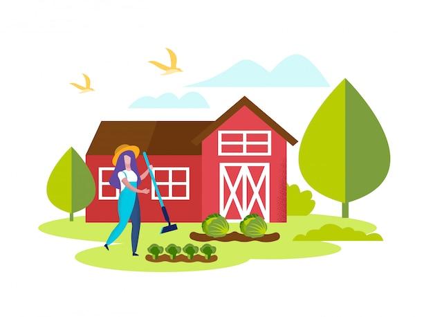 ブロッコリーと女性庭師除草ガーデンベッド