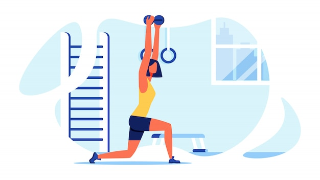 女性のためのスポーツトレーニング。筋肉の体。ベクター。