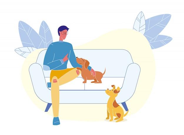 Молодой человек с щенками плоский векторная иллюстрация