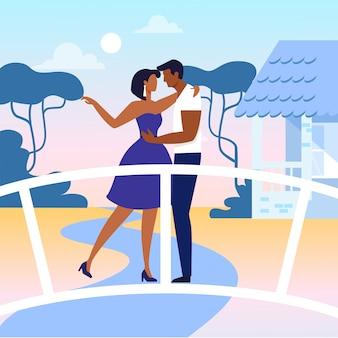 Молодые люди в любви с плоским векторная иллюстрация