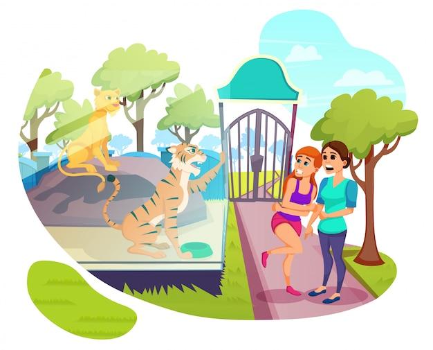 夏の週末、動物公園を歩く訪問者