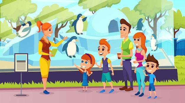 動物園でのガイド付きの子供の遠足を持つ親