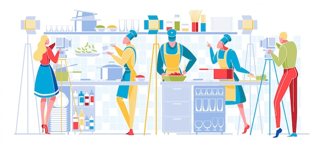 料理プログラムまたはブログ放送。テレビ