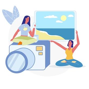 休暇の写真を選択する女性フラットイラスト