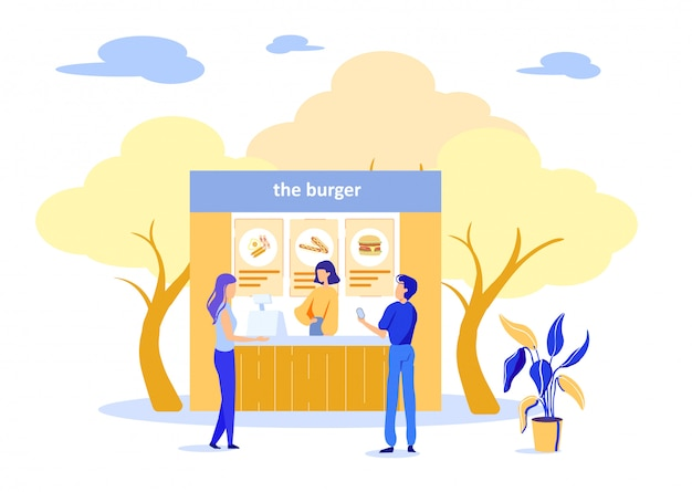 ストリートファーストフードカフェでハンバーガーを買う人