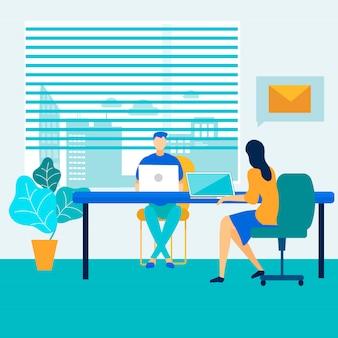 オープンスペースでのオフィスの人とワークフロープロセス