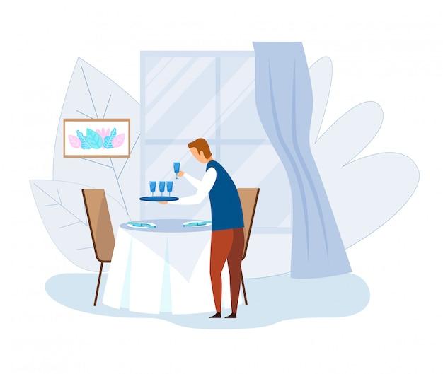 きれいなガラスの漫画とウェイターサービングテーブル
