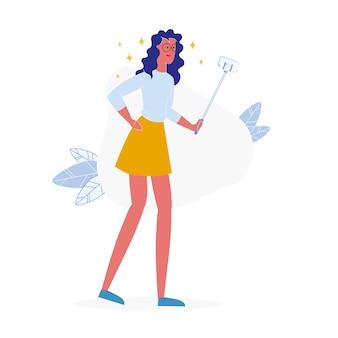 Молодая девушка берет селфи мультипликационный персонаж
