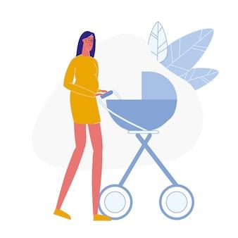 妊娠中の女性と乳母車フラット