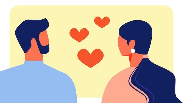 愛好家の男性と女性はお互いを見て