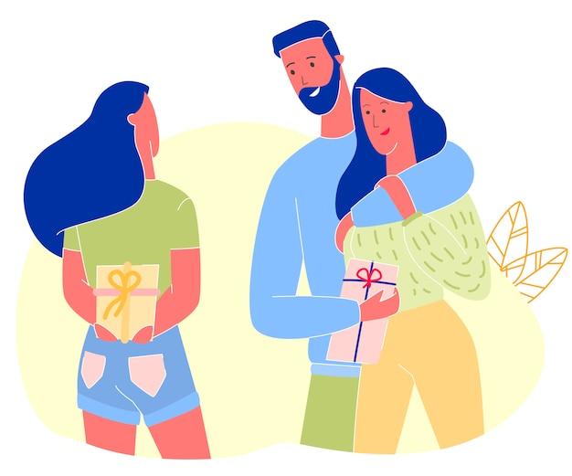 Женщина дарит подарок друзьям на день рождения