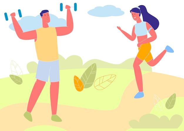 若いスポーツウーマンと屋外スポーツウーマントレーニング