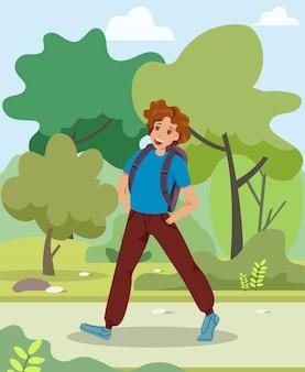 男は公園の漫画で歩く