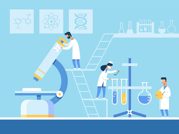 新しい医薬品の作成に取り組んでいる科学者