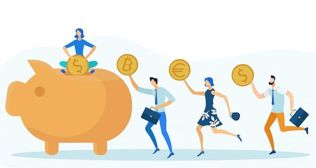貯金箱にさまざまなコインを入れる人々