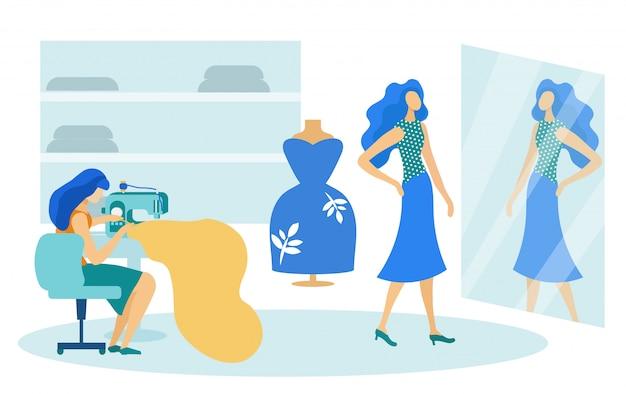 縫製スタジオ、女性とクライアントの服を試着