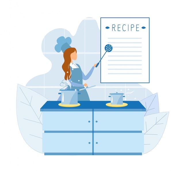 Шеф-повар использует рецепт для приготовления пищи на кулинарных курсах