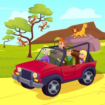 野生生物の休暇、サファリでジープを運転する家族