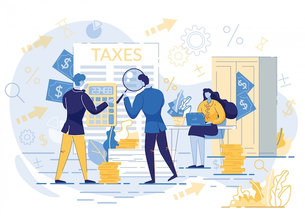 納税、データ分析を計算する人々。