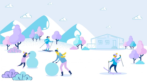 父娘は雪だるま少年母スキーを作る