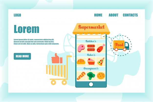 画面上のスーパーマーケット製品と巨大なスマートフォン