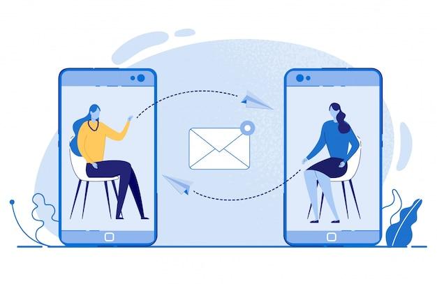 携帯電話のベクトルを介してメッセージを送信する女性。