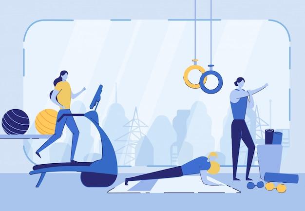 Осуществление женщин в тренажерном зале, здоровый активный образ жизни.