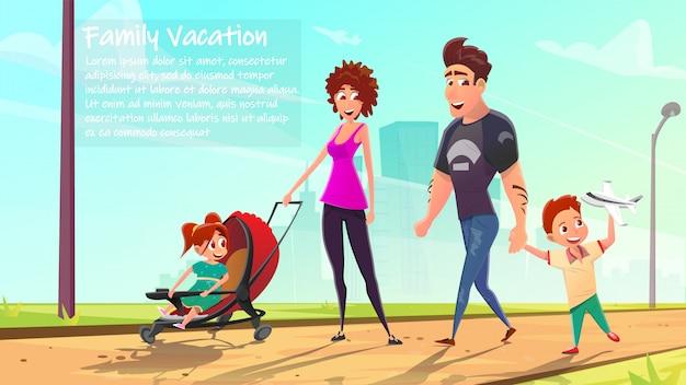 ベビーカーまたは乳母車で歩く家族。