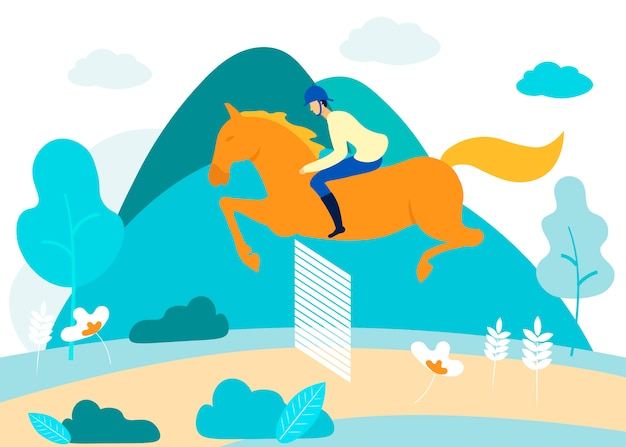 Человек занимается конным спортом в лесу. вектор