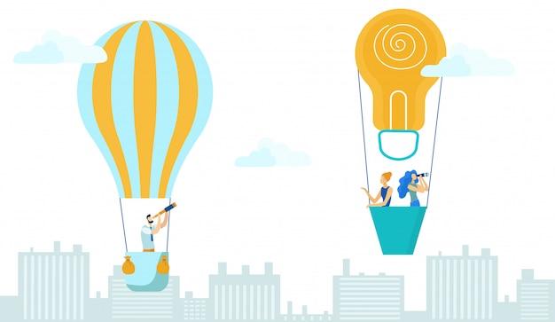 ビジネスの男性と女性が熱気球で飛んでいます。