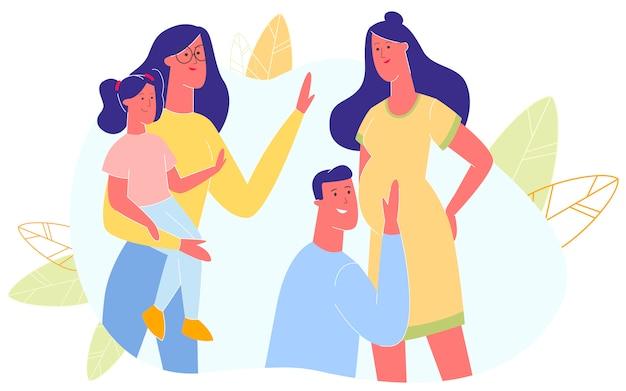 家族の夫と妻は親になる準備をします。