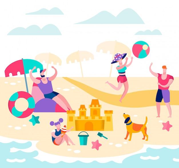 夏休み、幸せな家族がビーチでリラックス