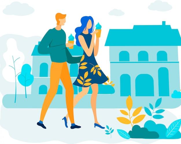 Информативный плакат мужчина и женщина едят мороженое.