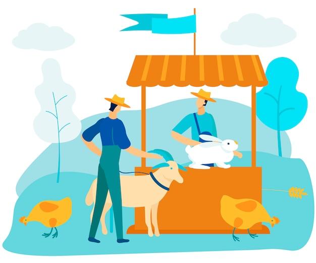 Человек на рынке продает животных. кролик на счетчике.