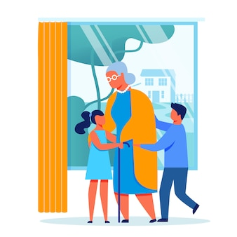 Дети посещают бабушку векторная иллюстрация