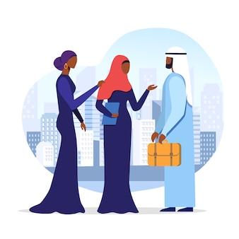 Арабский бизнесмен с помощниками векторная иллюстрация