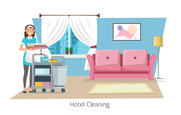 Уборка отеля, горничная, тележка с принадлежностями.