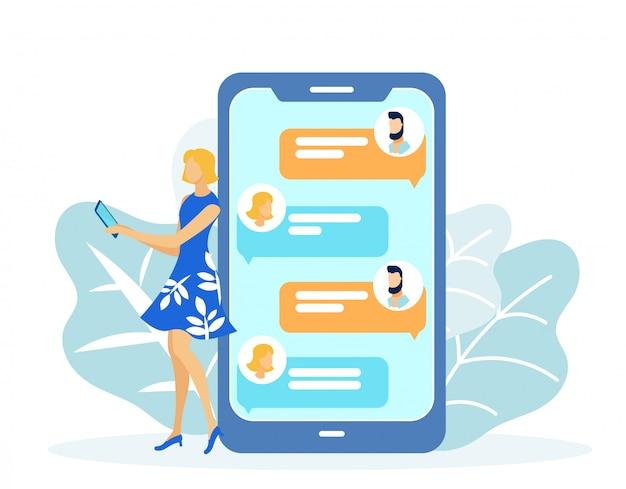 携帯電話のベクトルで男とチャットの女性。