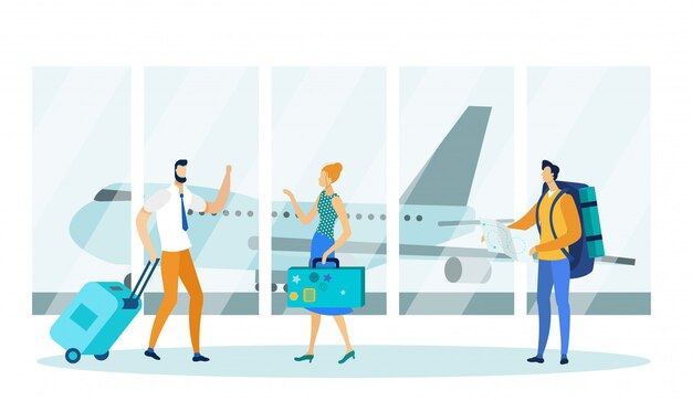 Мужчина и женщина, ожидая взлета в аэропорту.