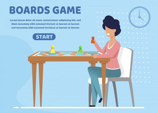 有益なポスターボードゲームレタリングフラット。