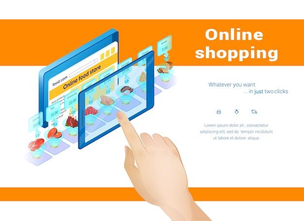 オンラインショッピング、タブレット画面に触れる人。