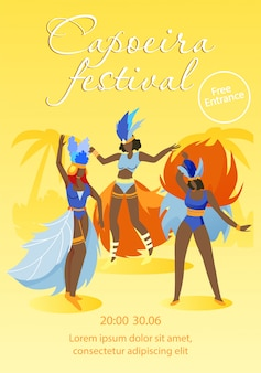 Женщины в карнавальных костюмах и головной убор из перьев,