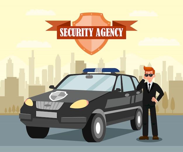 秘密エージェントと車のフラットベクトル図