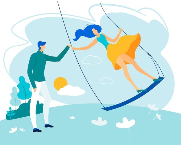 Яркий плакат человек с женщиной, едущей на качелях,