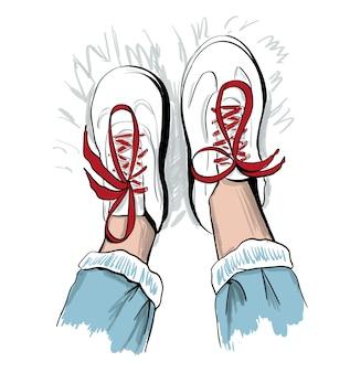 赤い靴ひもとスニーカーのスケッチ