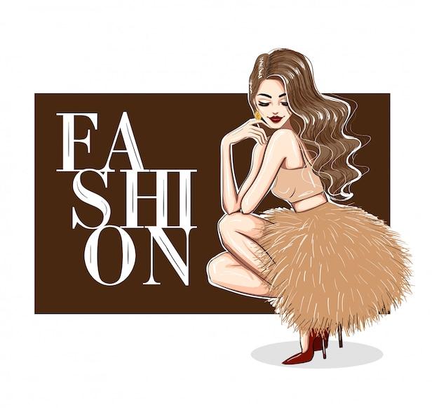 ふくらんでいるドレスとハイヒールで官能的な女性