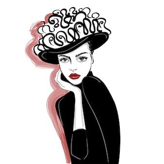 装飾帽子の女のインクの肖像画