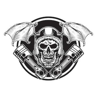 頭蓋骨とバットピストンバイクイラストと翼のあるヘルメット