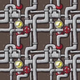 Линия подземного трубопровода рука рисунок бесшовные повторяется