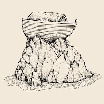 ノアの箱舟の手描きのイラスト